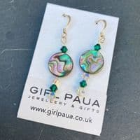 PE01-C-L Paua & Swarovski Circle  Earrings LONG with Two Colours of Crystals *change crystal colour*